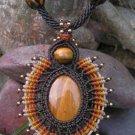 Tigers Eye Gemstone 'Sun Burst' Pendant / Necklace - Micro Macrame Hemp Cord